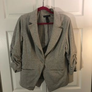 Cotton Scrunch Sleeve Cotton Blazer